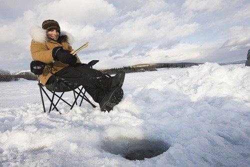 Ice Fishing with Gloves and Chair